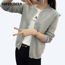 Refeeldeer 8 Colors Knitted Cardigan Female 2017 Spring Autumn Long Sleeve Cardigans For Women Jacket Sweater Women Black White