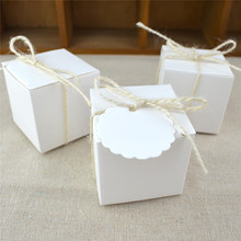 5CM Square Candy Box White Kraft Paper Favor Box Wedding Baby Shower Gift Box Casamento Wedding Favors And Gifts 50pcs