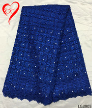 Beautifical heavy beaded lace fabric royal blue african wedding cord lace with pearls africa lace fabric for women LG39(China)