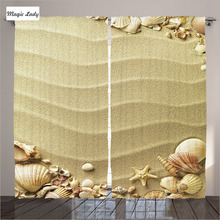 Curtains Stripes On The Sand Decor Collection Beach Seashell Romantic Vacation Beige Living Room Bedroom 2 Panels Set 145*265 sm
