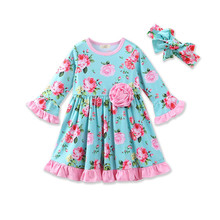 Floral Fall Girls Dress Ruffle Smock Baby Girls Dress Headband Set Long Sleeve Children Dresses Outfit Floral Kids Clothes(China)