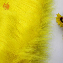 High grade 7cm long hair yellow faux fur fabric for winter coat,vest,cosplay stage decor free shipping 150*50cm 1piece SP2575(China)