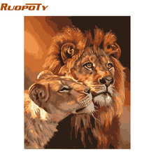 RUOPOTY The Lion Familly Animals DIY Painting By Numbers Acrylic Wall Art Picture Hand Painted Oil Painting Unique Gift 40x50
