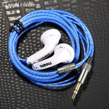 Original FAREAL MX500 high impedance 32ohm hifi flat head  earphone  computer headset ocean heart blue transparent cable headset