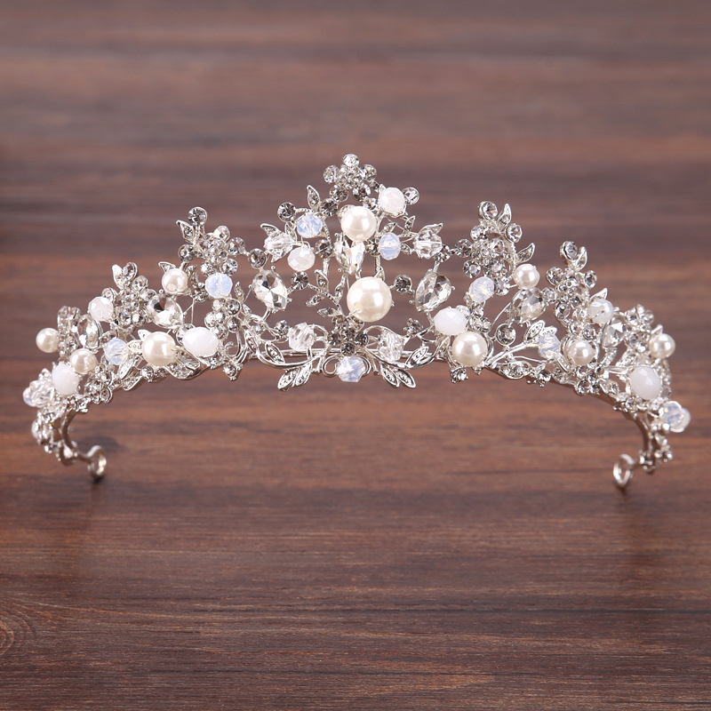 Silver Plated Flowers Crystal Pearl Crown Headband Wedding Bridal Big Tiara Party Show Pageant Hair Accessories