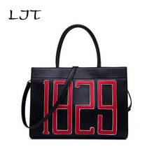 LJT 2017 New Women Bag Simple Personality Atmosphere Large Capacity Shoulder Messenger Bag Luxury Handbags Tote Bag sac a main(China)