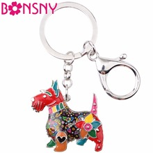 Bonsny Enamel Metal Scottish Terrier Dog Key Chain Key Ring Jewelry For Women Girl Bag Pendant Charm Car Keychain Accessories(China)