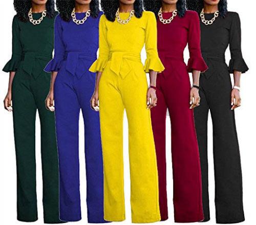 Women-039-s-New-Black-Long-Sleeve-V-Neck-Wide-Boot-Leg-Party-Jumpsuit-Plus-Size