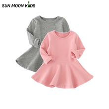 Sun Moon Kids Dresses Girls Clothes Infant Baby Girls Dress 100% Cotton Casual Girl Princess Dress Longsleeve Children Costume