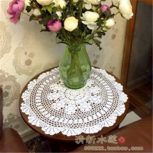 Free shipping round cotton crochet lace table cloth table cover with flowers decoration  pad cutout cover towel table cloth