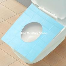 10Pc/Lot 2015 Potty Bathroom Toilet Seat Cover Disposable Toilet Mat Travel 100% Waterproof Monolithic Bacteria Dress F1395(10)(China)