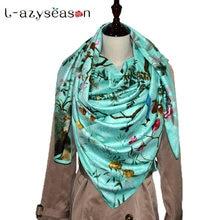 2018 Nouveau 130X130 CM bandana Carré de soie Écharpe femmes de luxe marque  De Mode Impression hijab Grande taille Femmes Foular. c0d9362b9ca