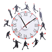 Morden Design Wall Clock  Basketball Sketch Pattern Creative Removable Wall Clock Sticker Decal for Living Room Bedroom