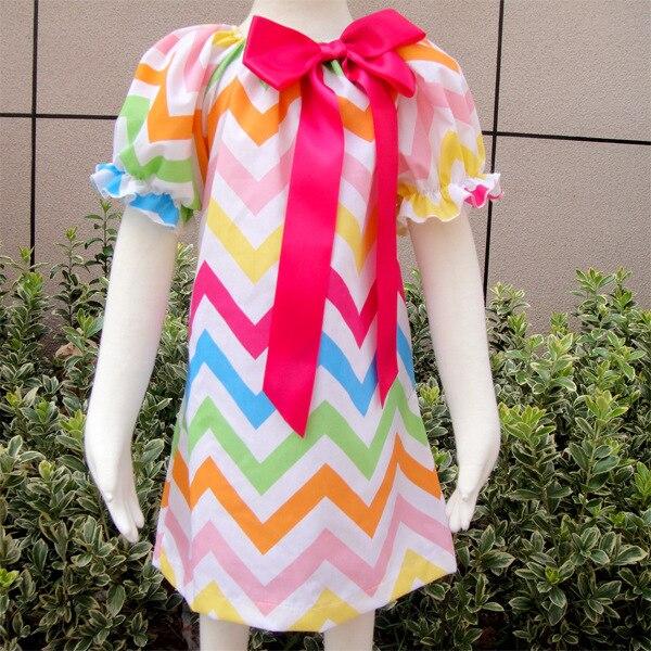 Girls Rainbow Chevron Dress,Candyland Dress Baby Clothes Christmas Chevron Peasant dress,Girls spring Easter dress<br><br>Aliexpress