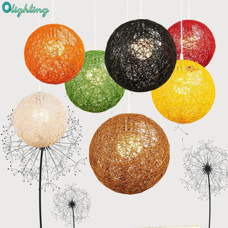 modern hand braid wicker colorful round ball hanging random E27 pendant lamp decorative home lamparas home pendant lights<br>