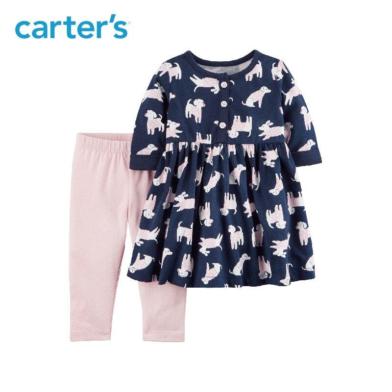 2-Pièce de Carter bébé enfants enfants vêtements fille printemps et d'été doux chien imprimer Robe et Legging Ensemble 121I331 11