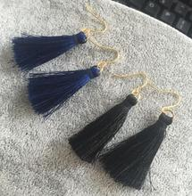 ey104 Fiber Tassel Drop Earrings for Women Gold Bridal Bohemia Bridal Fashion Wedding Jewelry Party