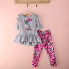 2017 Kids Clothes Sets Autumn 2pcs Sets Cute Cat Baby Girls Dresses Clothing Sets Shirt +Leopard Printed Pants Leggings Outfits
