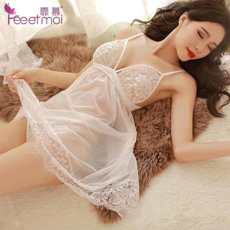 See Through Lace Bra Nightgowns Women Sexy Lingerie Backless Bandage Porn Sleep Night Dress Night Wear