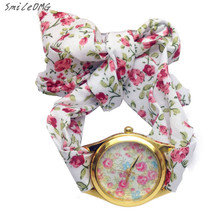 SmileOMG Hot Marketing Fashion Women's Flower Fabric pointer Dial Analog Quartz Cute WristWatch Free Shipping,Sep 22(China)