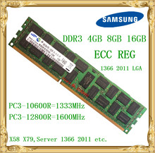 Samsung DDR3 4GB 8GB 16GB server memory 1333 1600MHz ECC REG DDR3 PC3-10600R 12800R Register RIMM RAM X58 X79 motherboard use(China)