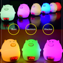 Children LED Night Light Silicone Cartoon Pig Alarm Clock USB Charger Time Temperature Display Lamp For Kid Bedroom Gift TB Sale(China)