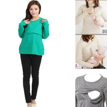 Women Maternity Clothes Convenient Nursing Long Sleeve O Neck T shirt Pregnant Womens Tops 9 Colors(China)