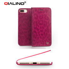 Qialino Genuine Leather flip Case For iPhone 7 / 7 Plus purple Crocodile striae book style Cover card slot wallet phone shell