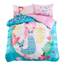 Mermaid Sheet Pillowcase Duvet Cover Sets Twin Single Queen size Cartoon Kids Teens Bedding Set 3/4pc Bedlinen 100% Cotton(China)