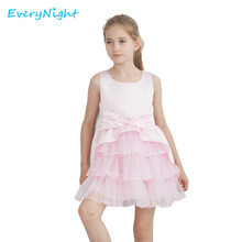 Every Nihgt Bow Flower Girl Dress Lace Party Wedding Princess Tulle Pink 2017 Summer Kids Dresses Children's A-line Sundress