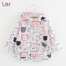LZH Girls Trench Coat 2017 Spring Autumn Baby Girls Jacket For Girls Windbreaker Kids Graffiti Outerwear Coat Children Clothes