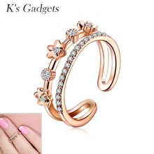 Flower Open Ring  Crystal Joint Ring Fashion Rose Gold Color Toe Ring Women Nail Silver Color  Zircon Opening Knuckle Rings