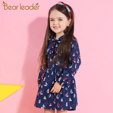 Bear Leader Girls Dress 2017 New Autumn Brand Baby Girls Long Sleeve Cute Sailboat Print Ribbon Bow Children Dress For 3-7 Years(China)