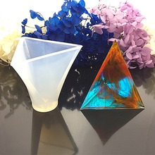 JAVRICK 1PC Clear Color Triangular Pyramid Jewelry Making Tools Mold Pendant Silicone Resin Craft DIY(China)