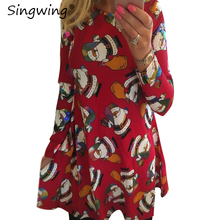Singwing Women Christmas Dress Printed O-neck Christmas Clothes Long Sleeve Lady's Xmas Gift Clothing Dresses(China)