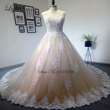 Liyuke Luxury Strapless Champagne Ball Gown Wedding Dress Embroidery Floor-Length Chapel Train Bridal Dress robe de mariage(China)