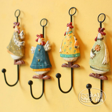 Free Shipping! 4pcs/lot Lovely American Rural Style Cock Design Resin Coat Hook Rooster Iron Hook Wall Decorative Hanger