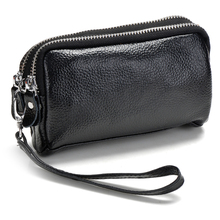3 Zipper Pockets 100% GENUINE LEATHER Men & woman Clutch bag Coin Purse,Evening bag,Handbag case iphone 4/5 wallet Key bag MA05(China)