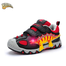 Dinoskulls Kids Shoes Boys Sport Children's Shoes Led Brand Boys Sneakers 2017 Leather Breathable Running Shoe 3D Dinosaur Shoes
