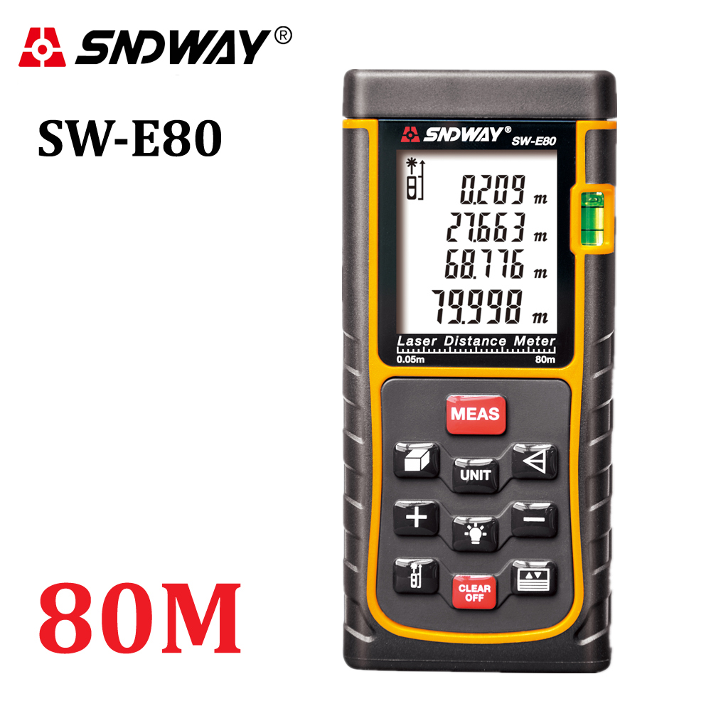 SNDWAY 80M 262ft handheld Laser distance meter trena Laser Range finder RangefinderTape measure SW-E80 Area-volume tool hunting<br><br>Aliexpress