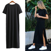 [TWOTWINSTYLE] Autumn Basic Side High Slit Long T shirt Women Sex Dress Short Sleeves Black New Fashion Clothing