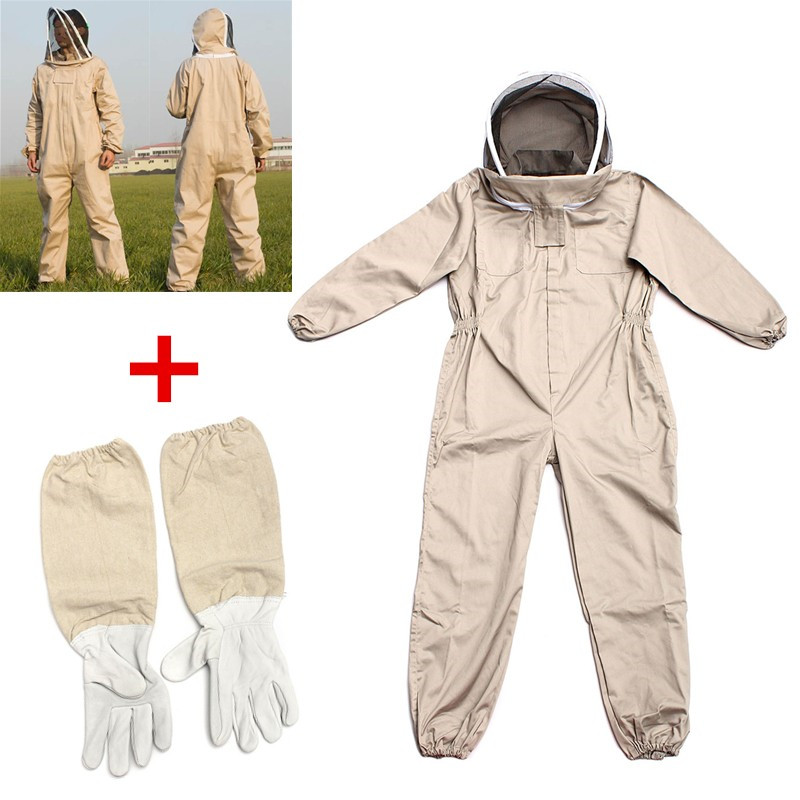 NEW Unisex Details about Cotton Beekeeper Bee Suit Smock + Beekeeping Protective Goatskin Gloves Gray+White Safely Clothes S M L<br>