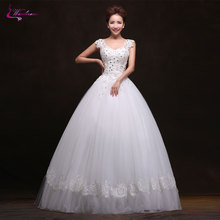 Buy Waulizane Vintage V-Neck Lace Ball Gown Wedding Dresses Beading Crystals Applique Lace Tulle Floor-Length Natural Bride Dress for $198.81 in AliExpress store