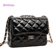 Aminou Women Chain Shoulder Bags Luxury Designer Woman Patent Leather Small Messenger Handbags High Quality Bolsa Feminina(China)
