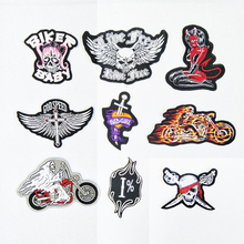Punk Skull skeleton Cloth Patch Embroidered Backpack Decoration Badges Cloth Patches for Clothing Vest Jacket Parches Bordados(China)