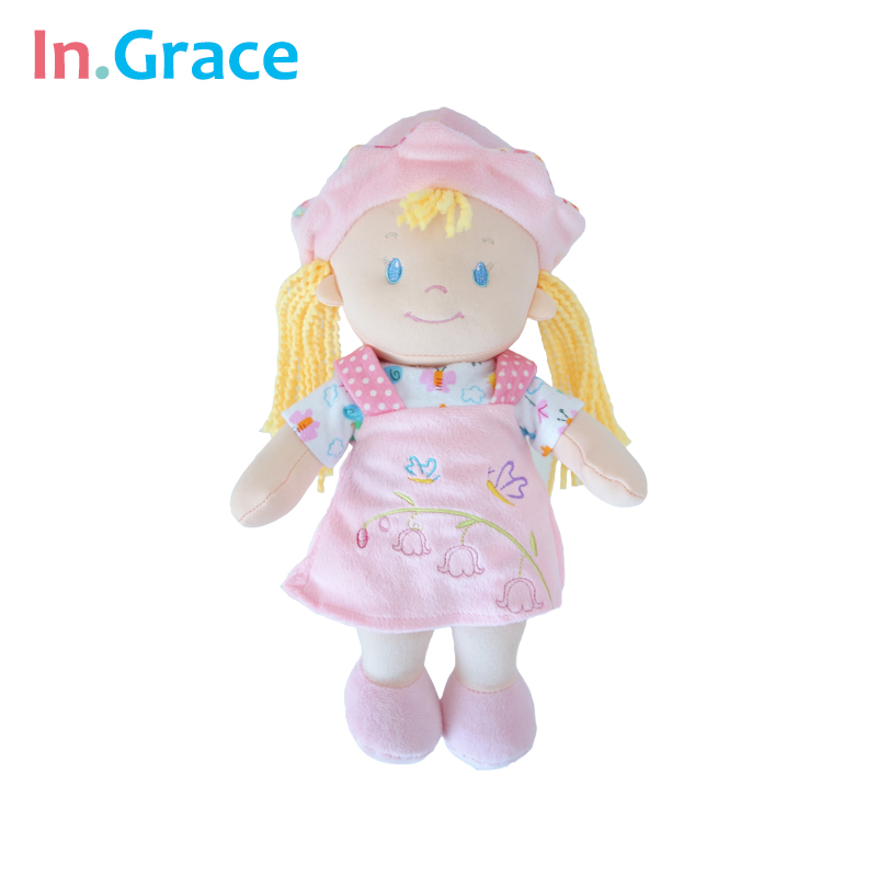 InGrace pink sweet cute poupee for baby girls bed decoration high quality plush dolls 30CM printed doll free shipping girls toy<br><br>Aliexpress
