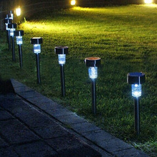 Fast shipping 10pcs/lot Stainless steel Solar lawn light for garden decorative 100% solar power Outdoor solar lamp luminaria