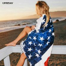 UFRIDAY USA Fourth of July The American flag Beach Towel Stars Stripes Printed Large Bath Towels Wall hanging Camping Mat Tassel