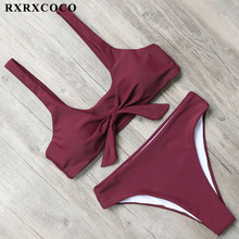 Buy RXRXCOCO Bikini 2018 High Waist Swimsuit Women Sexy Bow Design Bikini Set Padded Swimwear Female Halter Bandage Swimming Suits