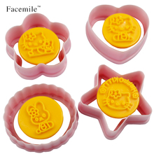 4PCS/SET Cat Shape Mold Sugar Arts Set Fondant Cake Tools/Cookie Cutters Hello Kitty Cake Mold 04041